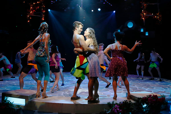 Mamma Mia production image during 'Voulez Vous' dance number