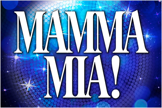 Mamma Mia musical logo with disco ball background and sparkles